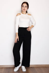Women's Belted Wide Legs Black Pants - Trendyul