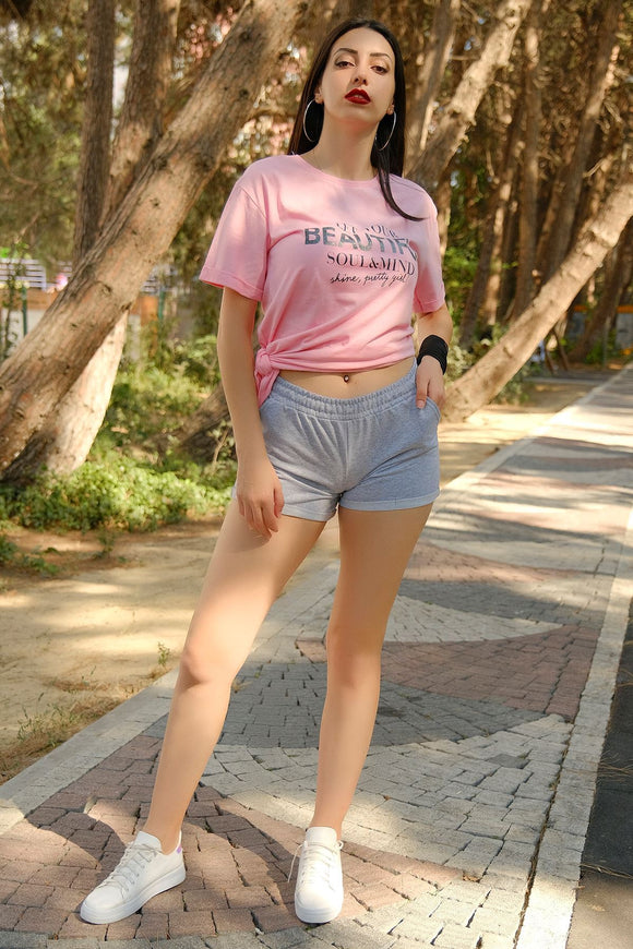 Women's Grey Fleece Shorts - Trendyul