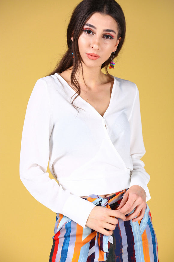 Front Wrap Model Ecru Blouse - Trendyul