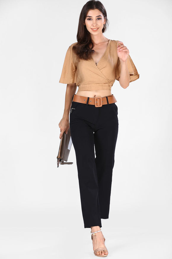 Women's Belted Black Pants - Trendyul