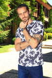 Men's Patterned White T-shirt - Trendyul