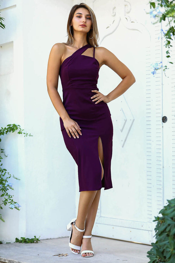 Women's Slit Purple Midi Evening Dress - Trendyul