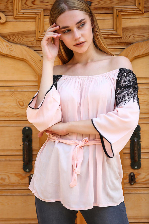 Women's Lace Detail Powder Rose Blouse - Trendyul