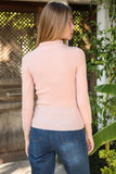 Women's Mock-Turtleneck Powder Rose Tricot Blouse - Trendyul
