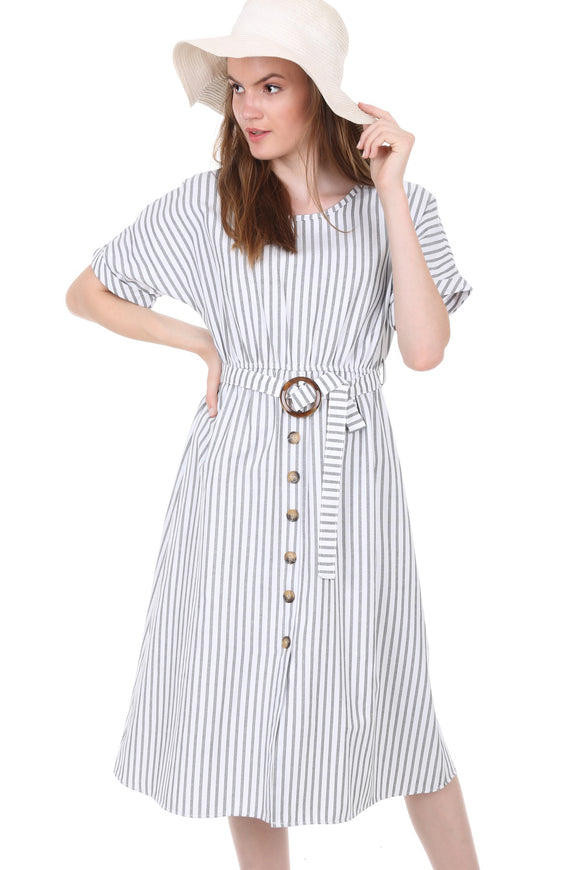 Women's Belted Faux Button Short Sleeves Dress - Trendyul