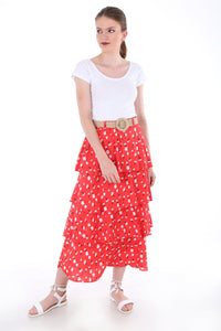 Women's Straw Belted Frill Floral Pattern Red Midi Skirt - Trendyul