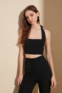 Women's Black Crop Blouse - Trendyul