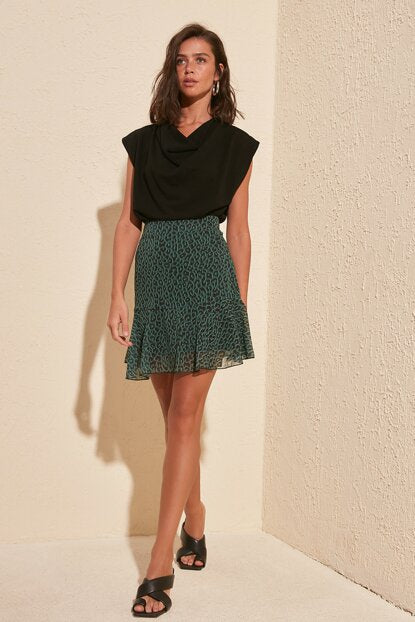 Women's Leopard Pattern Green Skirt - Trendyul