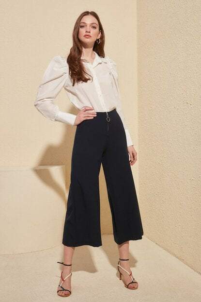 Women's Wide Leg Navy Blue Pants - Trendyul