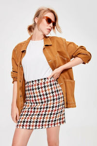 Women's Houndstooth Pattern Skirt - Trendyul