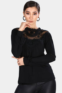 Women's Embroidered Black Blouse - Trendyul
