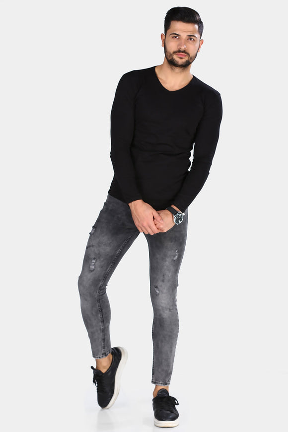 Men's Ripped Anthracite Jeans - Trendyul