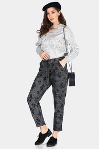 Women's Patterned Anthracite Pants - Trendyul