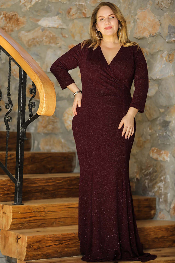 Oversize Wrap Collar Claret Red Evening Dress - Trendyul