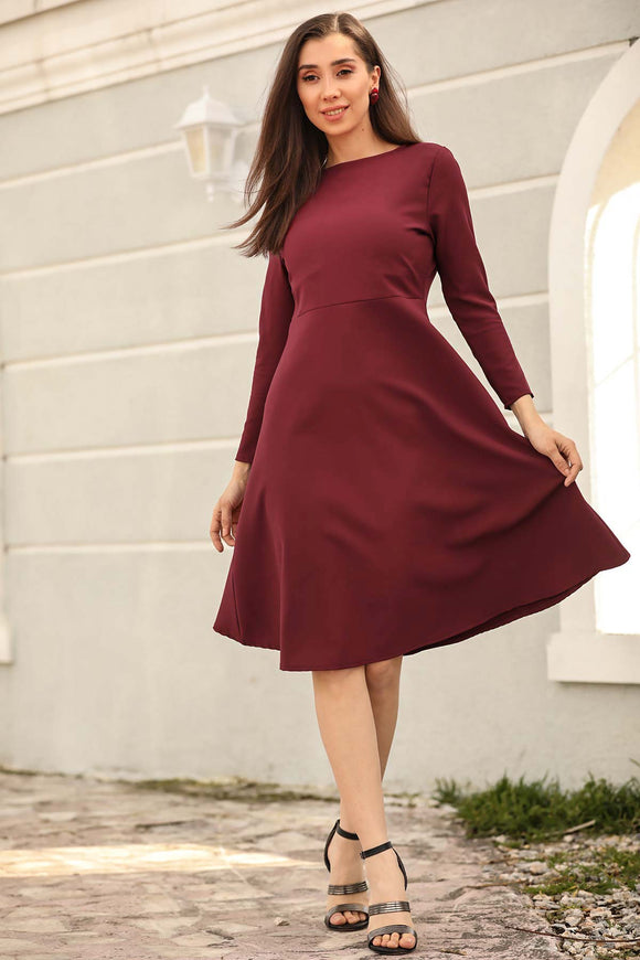 Women's Claret Red Short Dress - Trendyul
