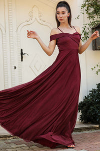 Women's Glitter Claret Red Long Evening Dress - Trendyul