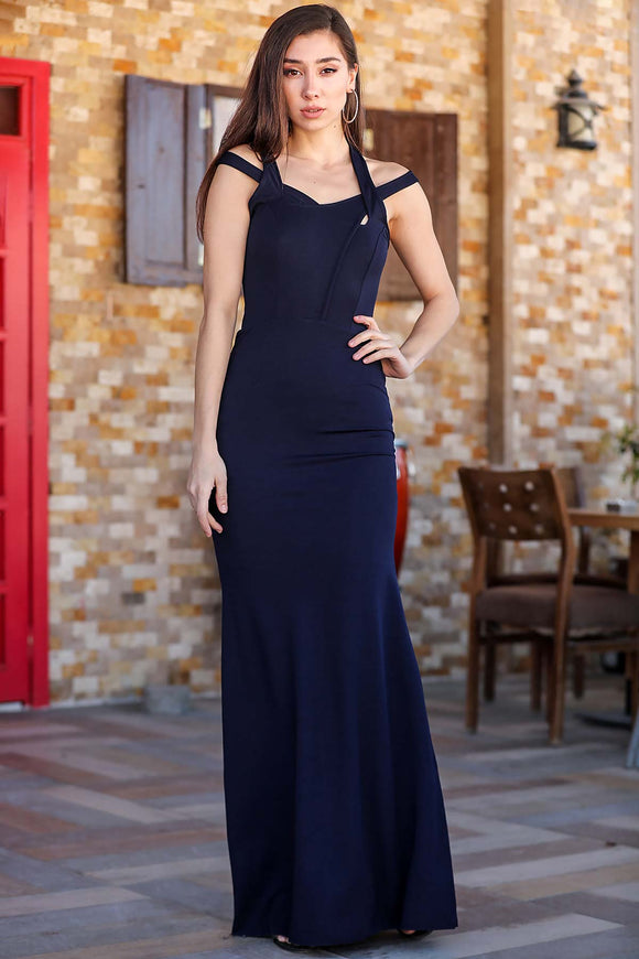 Women's Fish Model Navy Blue Evening Dress - Trendyul
