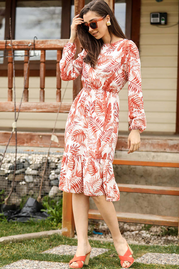 Women's Tile Red Leaf Pattern Short Dress - Trendyul