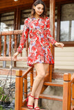 Women's Patterned Red Short Dress - Trendyul