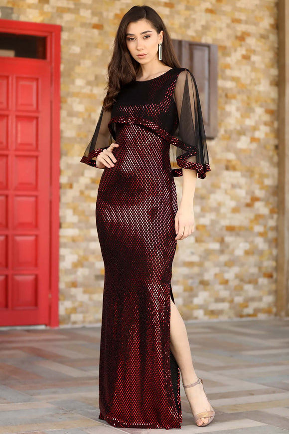 Women's Tulle Sleeves Fish Model Red Sequin Evening Dress - Trendyul