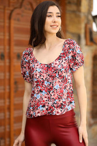 Women's Off Shoulders Patterned Claret Red Blouse - Trendyul
