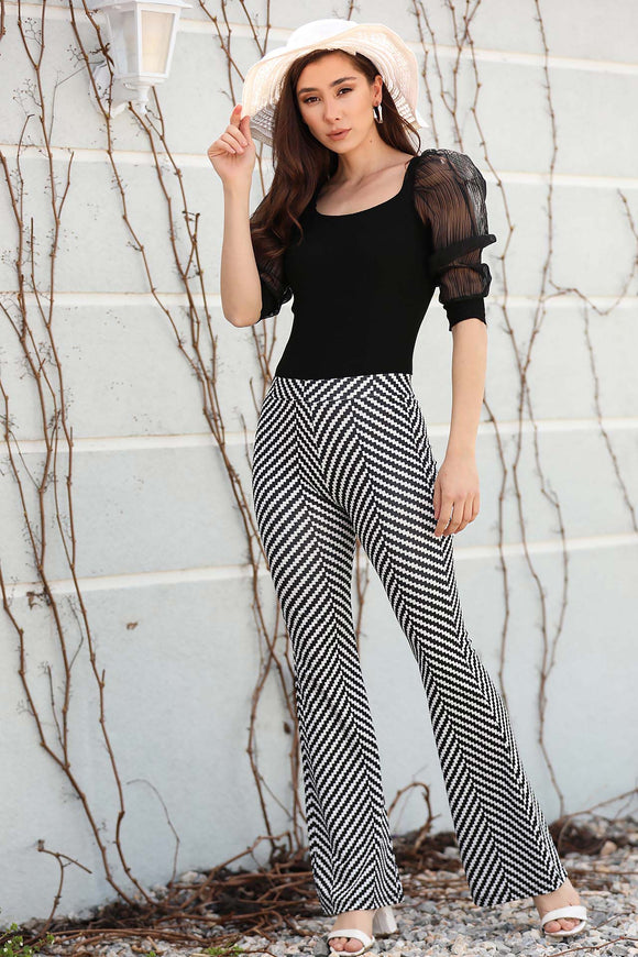 Women's Patterned Black Pants - Trendyul