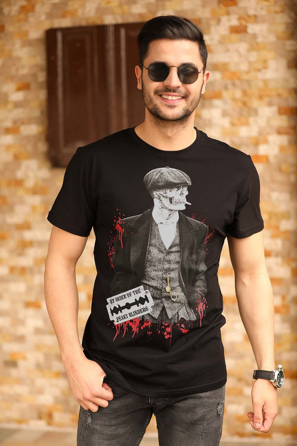 Men's Printed Black T-shirt - Trendyul
