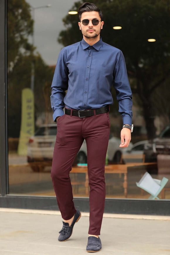 Men's Pocketed Claret Red Pants - Trendyul