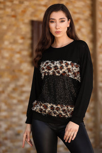 Women's Patterned Sequin Black Blouse - Trendyul
