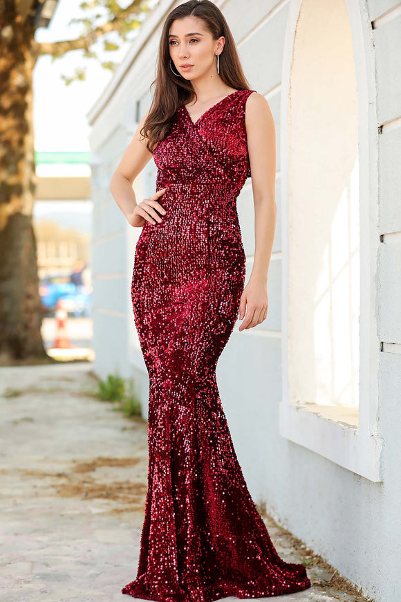 Women's Wrap Fish Model Sequin Claret Red Long Evening Dress - Trendyul