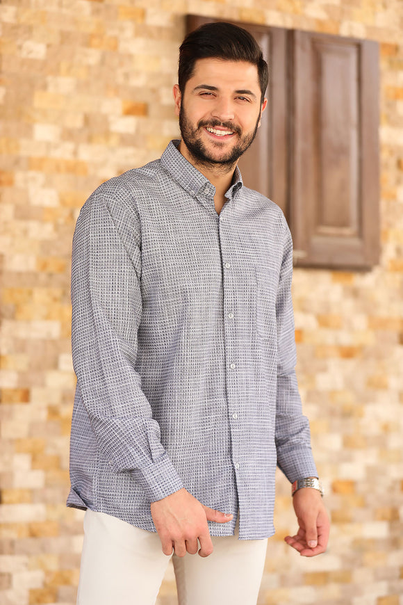 Men's Button Patterned Navy Blue Shirt - Trendyul