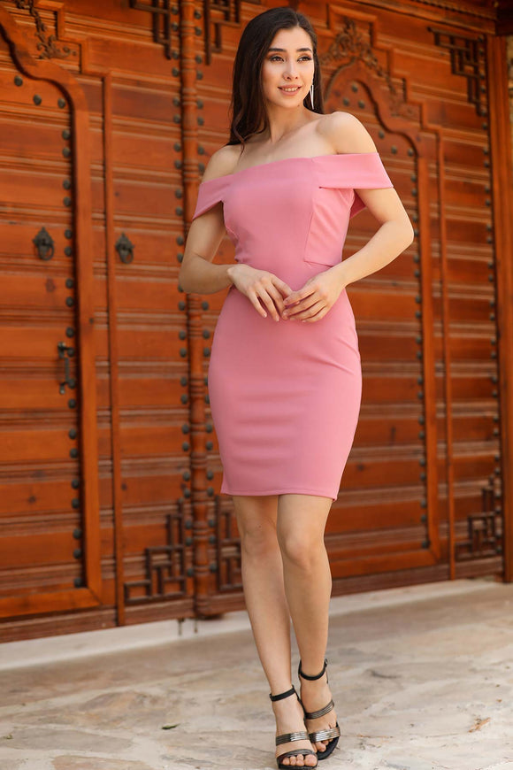 Women's Off Shoulders Dusty Rose Dress - Trendyul