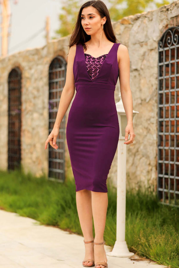 Women's Sequin Purple Short Evening Dress - Trendyul