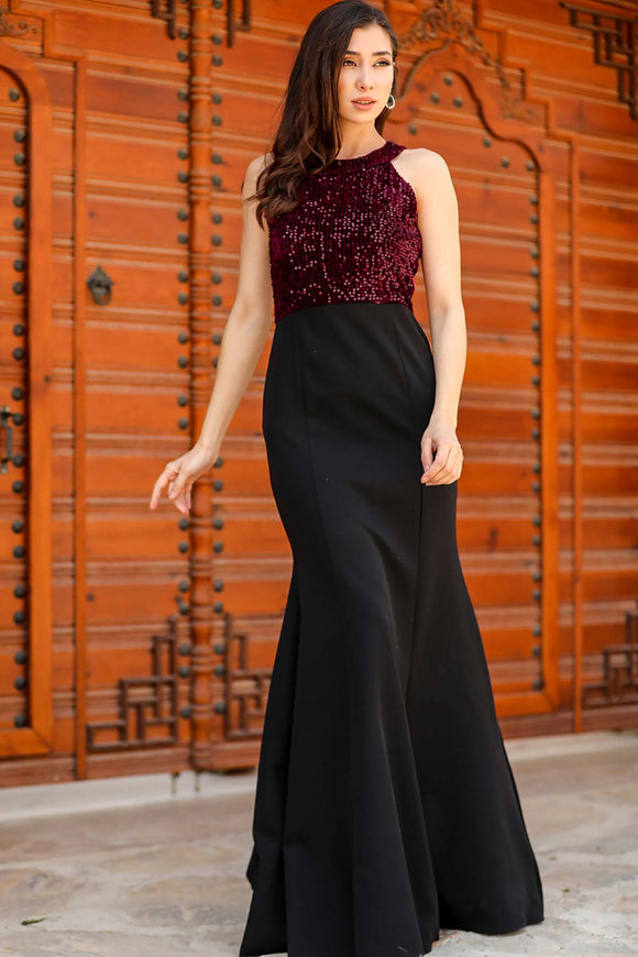 Women's Fish Model Sequin Top Evening Dress - Trendyul