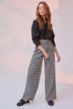 Women's Houndstooth Pattern Black Pants - Trendyul