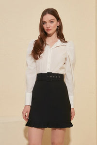 Women's Belted Black Skirt - Trendyul