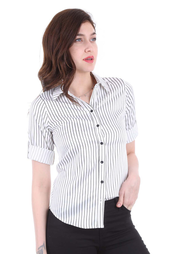 Women's Striped Satin Shirt - Trendyul