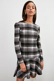 Women's Checkered Grey Short Dress - Trendyul