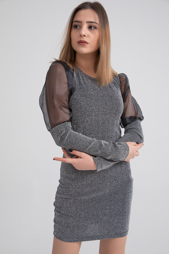Women's Sleeve Detail Glitter Silver Short Dress - Trendyul