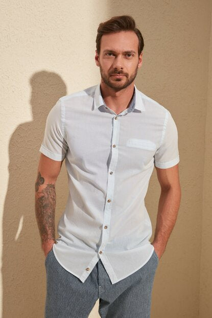 Men's Shirt Collar Short Sleeves Pocket Blue Slim Fit Shirt - Trendyul
