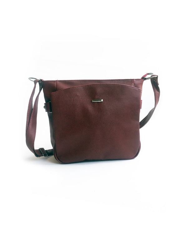 Women's Pocket Claret Red Crossbody Bag - Trendyul