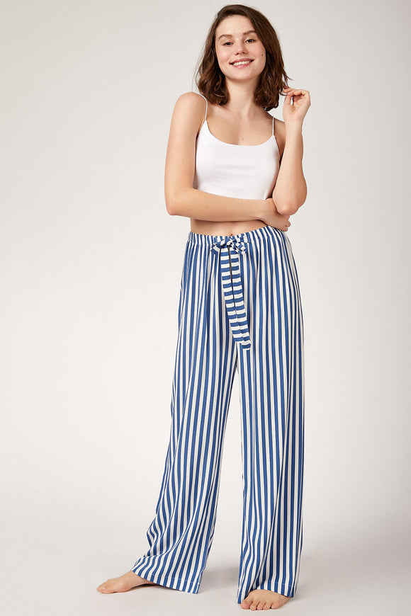 Women's Striped Blue Viscose Wide Leg Pants - Trendyul