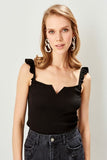 Women's Black Rib Blouse - Trendyul