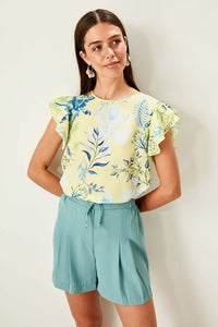 Women's Patterned Yellow Blouse - Trendyul
