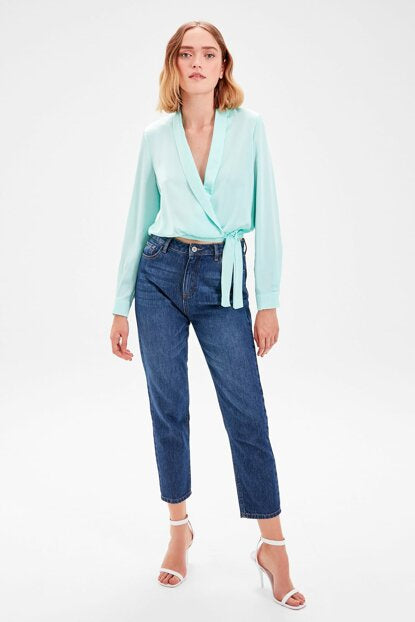 Women's Wrap Tie Waist Mint Green Blouse - Trendyul