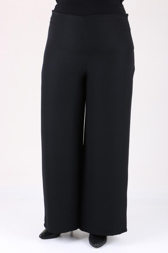 Women's Oversize Wide Legs Black Lycra Pants - Trendyul