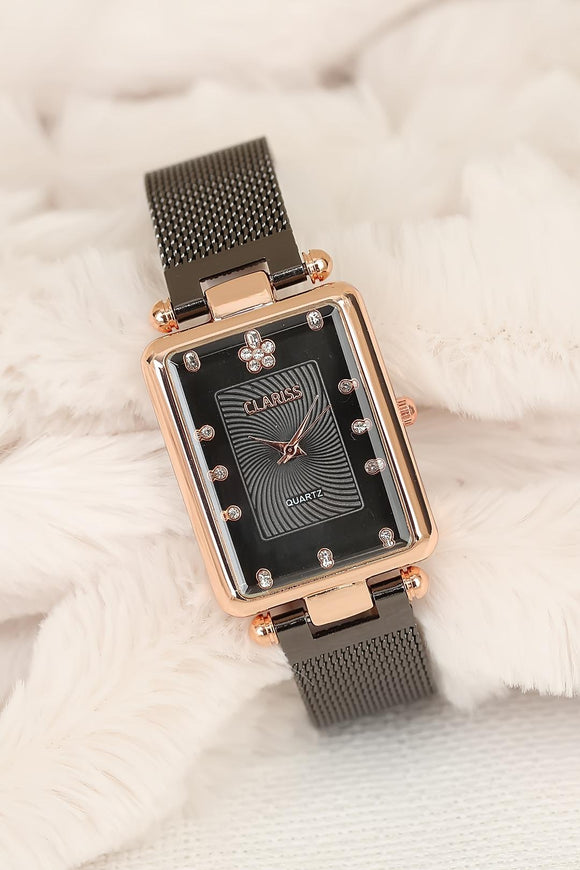 Women's Smoky Straw Metal Corded Rectangular Vintage Case Watch - Trendyul