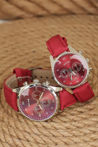 Couple's Red Denim Corded Golden Metal Sports Case Watch Set - Trendyul
