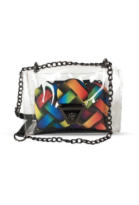 Women's Patterned Multi-color Transparent Crossbody Bag - Trendyul