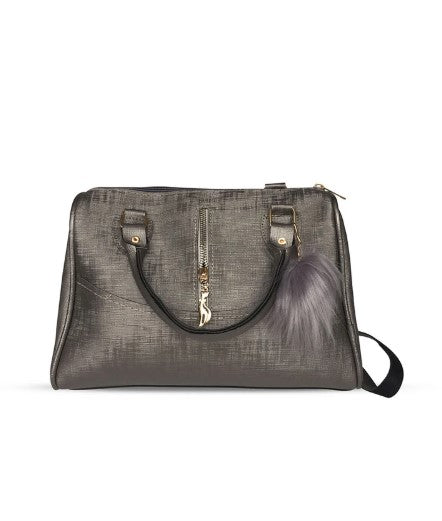 Women's Furry Bobble Accessory Silver Sleeve Bag - Trendyul